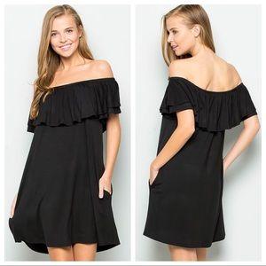 Ruffle Off Shoulder w/pockets Swing LBD Dress